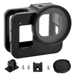 Luxebell Aluminium Alloy Skeleton Thick Solid Protective Case Shell with 52mm Uv Filter for Gopro Hero 8 Black