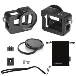 Luxebell C400 Aluminium Alloy Skeleton Thick Solid Protective Case Shell with 52mm Uv Filter for Gopro Hero 5 Camera