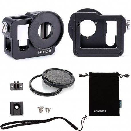 Luxebell C200 Aluminium Alloy Skeleton Thick Solid Protective Case Shell with 52mm Uv Filter for Gopro Hero 4 Black, Silver