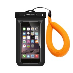 Waterproof Case,Universal Dry Bag for Samsung Galaxy S7, S6 Note 5 4, HTC LG Sony IPX8 - Waterproof Case Black with Float Strap