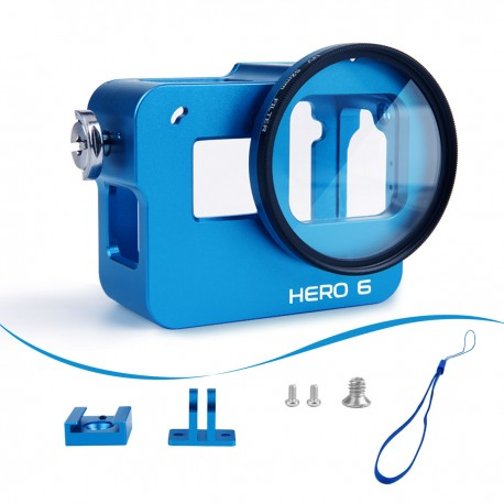 Luxebell Aluminium Alloy Skeleton Thick Solid Protective Case Shell with 52mm Uv Filter for Gopro Hero 6 5 Blue